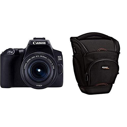 Canon EOS 250D - Cámara Digital (24,1 MP, 6000 x 4000, CMOS, 4K Ultra HD, Pantalla táctil) Negro, Kit con Cuerpo y EF-S 18-55IS STM + AmazonBasics - Funda para cámara de Fotos réflex, Color Negro