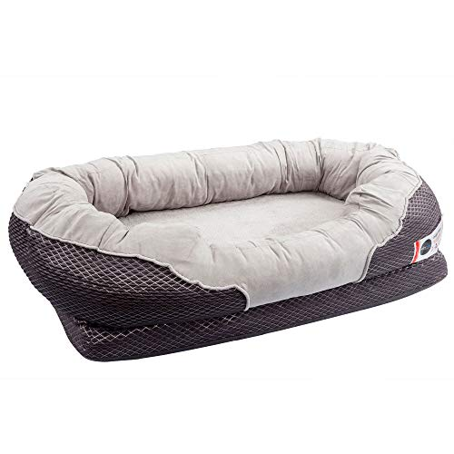BarksBar Large Gray Orthopedic Dog Bed - 40 x 30 inches - Snuggly Sleeper with Solid Orthopedic...