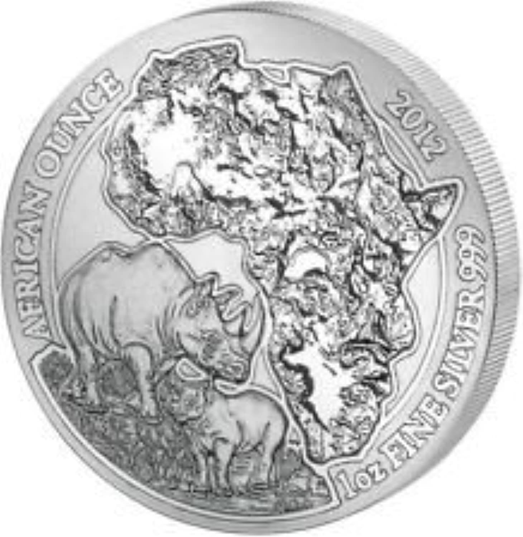 Ruanda Nashorn silvermünze silver Münze (engl. Rhino Rwanda Africa Silvercoin Silver) 2012 99,9% Feinsilver 1 Unze 1 oz