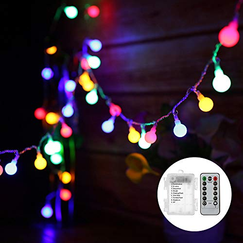 Globe String Lights Battery Powered 0.6W 10M 80LEDs Outdoor Fairy Lights Multi-Color 8 Modes Waterproof with Remote Control for Party Living Room Bedroom Patio Garden