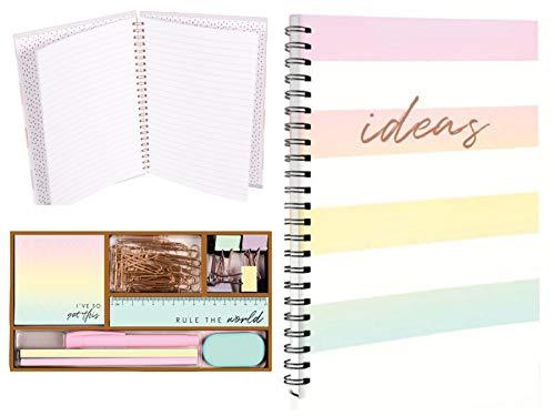 Set de escritorio organizador de papelería de oficina, suministros ordenado pastel mezclado oro rosa set y cuaderno A5, lápiz de borrador, regla, hogar, escuela, oficina, papelería