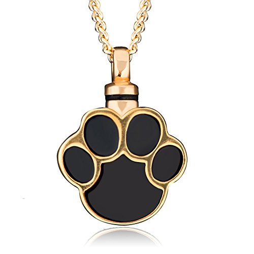 UNIQUEEN Gold Plated Dog Paw Print Urn Pendant Necklace Cremation Jewellery Ashes Keepsake Memorial Stainless Steel