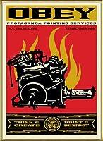 ポスター オベイ Print and Destroy/Shepard Fairey 手書きサイン入り 額装品 アルミ製ベーシックフレーム(ゴールド)