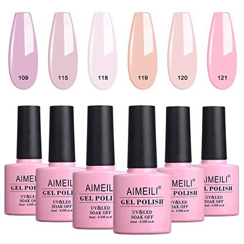 AIMEILI UV LED Gellack mehrfarbig ablösbarer Gel Nagellack Set Gel Nail Polish Kit - 6 x 10ml - Set Nummer 31
