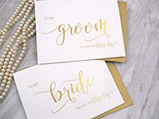 Set of 2 Gold Foil Wedding Day Cards with Gold Shimmer Envelopes, To My Bride on our Wedding Day Card, To My Groom on our Wedding Day Card