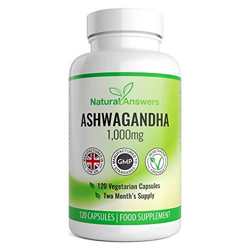 Ashwagandha 1000mg   Premium Natural Supplement   120 Vegetarian Capsules   2 Month Supply   UK Manufactured by Trusted Brand   Ashwagandha Capsules   Ashwaghanda UK   Ashwagandha Powder