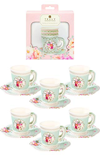 Talking Tables Truly Scrumptious Pack of 12 Vintage Floral Paper Afternoon Tea Party Cups Saucer Set For Kids or Adults Birthday Bridal Shower or Wedding, Mint Green