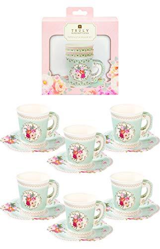 Talking Tables TS6-CUPSET Tasse en papier avec poignée et assiette, 12Pk, Multicolore, 16,2 x 14,2 x 16,2 cm