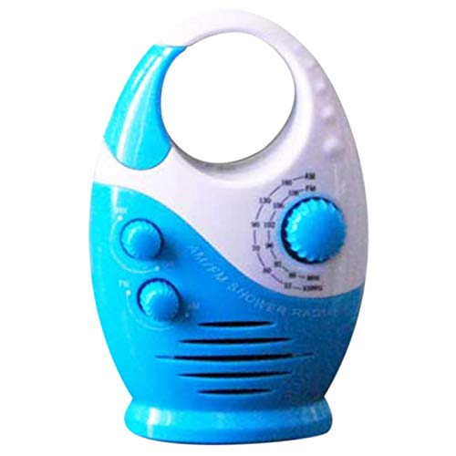Waterproof Shower Radio, Splash Proof AM/FM Radio with Top Handle for Bathroom Outdoor Use, Portable Hanging Insert Card Speaker Bathroom Button Adjustable Volume, Battery Powered