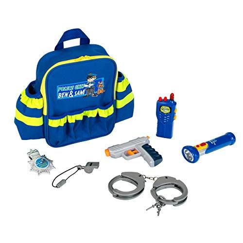 Theo Klein 8802 Police Unit Ben und Sam Polizei-Rucksack mit Zubehör I Mit batteriebetriebener Taschenlampe,...