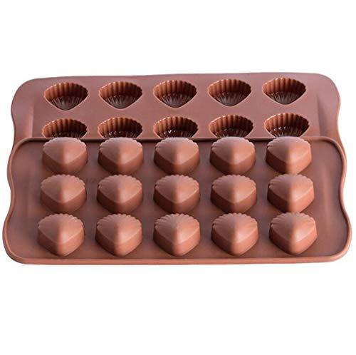 2 Pack siliconen vormen chocolade snoep schimmel 15 Cavity bakken schimmel ijsblokjes snoepjes maken benodigdheden taart decoratie 15 cavities (1 pack) Schelp