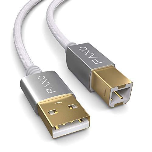 2m Nylon USB Druckerkabel, weiß, USB A Stecker auf USB B, Ladekabel, Datenkabel, Goldstecker