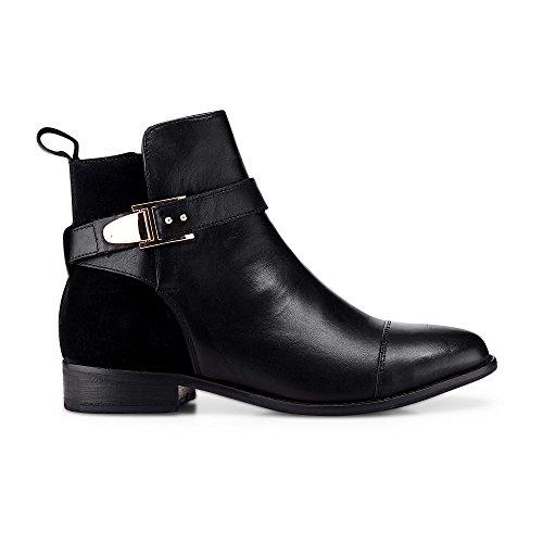 Cox Damen Trend-Bootie aus Leder, Schwarze Stiefeletten mit Schnallen-Applikationen Schwarz Glattleder 39