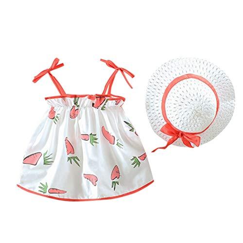 Transer Ensemble Robe sans Manches à lanière Carotte + Chapeau de Paille pour 0-24mois bébé Fille