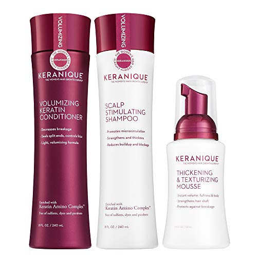 Keranique 60 Day Hair Thickening Kit   Shampoo, Conditioner, and Texturizing Mousse   Free of Sulfates, Dyes and Parabens   Improves Hair Texture   Strengthens Thinning Hair
