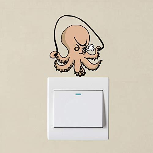 HYLCH Wandaufkleber Lustige Octopus Springseil PVC Wandaufkleber Farbige Schalter Aufkleber Dekoration