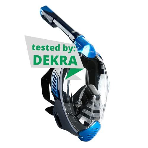Khroom® von DEKRA® geprüfte CO2 sichere Schnorchelmaske Vollmaske | bekannt aus YouTube | Seaview X - Tauchmaske für Erwachsene und Kinder (Blau, S/M)