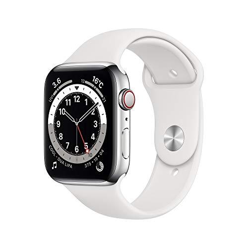 Apple Watch Series 6(GPS + Cellularモデル)- 44mmシルバーステンレススチールケースとホワイトスポーツバンド
