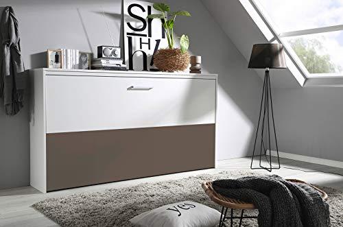 lifestyle4living Schrankbett 90x200 in Weiß und Braun, Wandbett inklusive Lattenrost ist die perfekte Lösung für gesunden Schlaf in kleinen Räumen