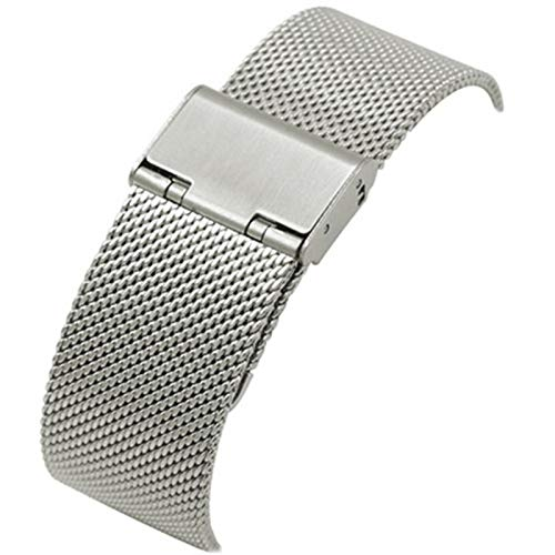 JWWLLT 16 mm 18 mm 20 mm 22 mm es Adecuado para o Compatible con la Banda de Reloj de Milanese Strap Tejido de Acero Inoxidable Milanese 304 Reloj Cinturón de Acero