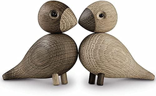 Kay Bojesen Lovebirds aus Holz, Holzfigur Dekoration, dänische Vogel-Paar Deko, Eiche/Räuchereiche, 5cm