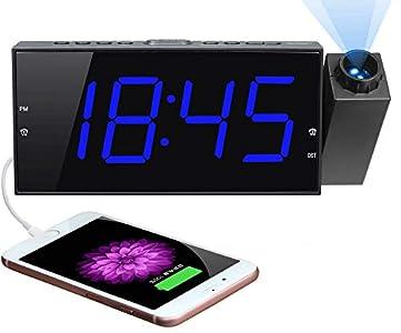 Reloj Despertador de Proyección Digital para Techo de Dormitorios, Reloj con Proyector, Atenuador y Pantalla LED, Timbre Ajustable, Alarmas Duales para Pared, Niños, Personas Mayores con Sueño Pesado