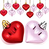 Boao 24 Pieces Heart Shaped Ornaments Valentine's Day Heart Ornament for Valentine's Day Decoration, 2 Styles(Pink, Red)