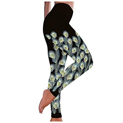 Liably Frauen Bunte Drucke atmungsaktive Hüfte Heben Übung Yoga-Hosen, Tik Tok Leggings Anti Cellulite High Waist Sport Legging Slim Fit Bauchkontrolle Pfirsich Hüfte Schwarz Large