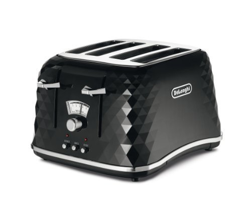 De'Longhi Brillante Faceted 4 Slice Toaster CTJ4003.BK - Black by De'Longhi