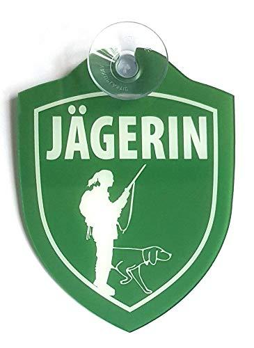 Schilder Einsatzschild für die Windschutzscheibe incl. Saugnapf JÄGERIN (WappenJägerin)