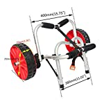 """Onefeng Sports 175LBS Kayak Cart Boat Carrier with Adjustable Width Axle for Carring Kayaks Canoes Spring Button Design… 14 ☀【ADJUSTABLE POLES】The distance between 2 poles is adjustable from 24-40cm(9.4""""-15.7""""). ☀【NEW TIRES】Plastic tires with rubber sheaths,won't slip.Tires are environment-friendly,odourless smelless.Size:25×7cm(9.8""""×2.7"""") ☀【PADDED DESIGN & MATERIAL】Black cover to protect your kayak or canoe.Made of Stainless Steel.Capacity:175 lbs.as been inserted into the trolley tube so don't worry to loss.We have fixed the strap(10ft) on the rubber cones,easy to fasten the kayak."""