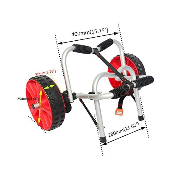 """Onefeng Sports 175LBS Kayak Cart Boat Carrier with Adjustable Width Axle for Carring Kayaks Canoes Spring Button Design… 5 ☀【ADJUSTABLE POLES】The distance between 2 poles is adjustable from 24-40cm(9.4""""-15.7""""). ☀【NEW TIRES】Plastic tires with rubber sheaths,won't slip.Tires are environment-friendly,odourless smelless.Size:25×7cm(9.8""""×2.7"""") ☀【PADDED DESIGN & MATERIAL】Black cover to protect your kayak or canoe.Made of Stainless Steel.Capacity:175 lbs.as been inserted into the trolley tube so don't worry to loss.We have fixed the strap(10ft) on the rubber cones,easy to fasten the kayak."""