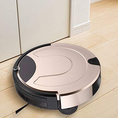 Robot Vacuum Cleaner, Buena TC-650 del Aspirador Inteligente de Pantalla táctil Barrido Robot de Limpieza del hogar con Control Remoto (Negro), Obras en Las alfombras y Suelos Duros (Color : Gold)