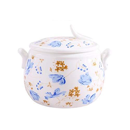 Cacerola de hierro fundido con tapa para horno Pyrex Cazuela con tapa para horno Pyrex Cazuela con nido de pájaro y forro para olla pequeña de cerámica apta para arroz, vidrio, azul, Size