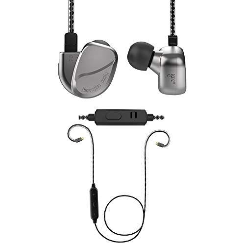 Auriculares de Hierro de 4 Unidades, diseño de línea Variable Auriculares Bluetooth Auriculares HiFi Auriculares intrauditivos Estéreo KZ Audio para músico Baterista Guitarra,Silver(Bluetooth)