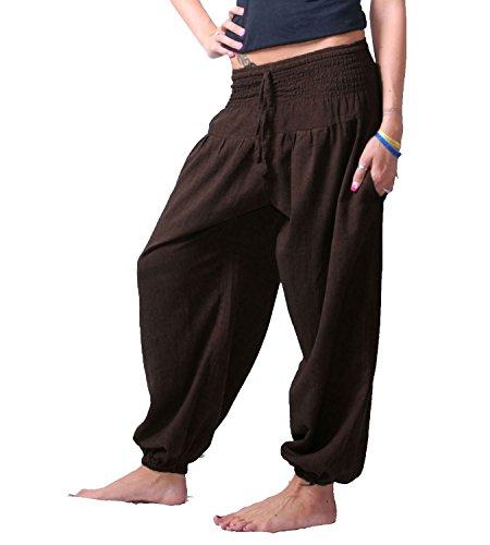 KUNST UND MAGIE Damen Pluderhose Haremshose Sommerhose Hippie Goa Wellness Yoga, Farbe:Schokobraun, Größe Damen:38-42(L/XL)
