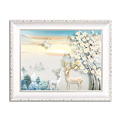YANRUI Cuadro de medidor Pintura Decorativa Cuadro de distribución Mural Bloque de Puerta eléctrica Pintura Pintura Salón Europeo Ciruela Elk (Color : C, Size : 55 * 45 (45 * 35))