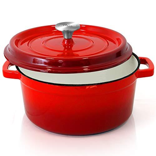 NutriChef Enameled Cast Iron Dutch Oven - 5-Quart Kitchen Round Dutch Oven Stovetop Casserole Cookware Braising Pot, Porcelain Enamel Coated Cast-Iron Baking Pots w/ Self Basting Lid - (Red)