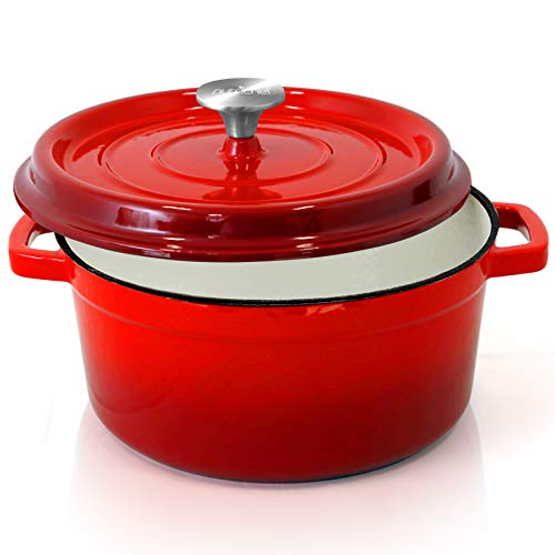 NutriChef Enameled Cast Iron Dutch Oven  5Quart Kitchen Round Dutch Oven Stovetop Casserole Cookware Braising Pot Porcelain Enamel Coated CastIron Baking Pots w/ Self Basting Lid  NCCIEC45 Red