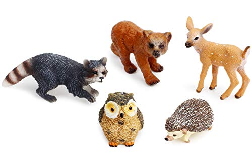 Forest Animal Figures Cake Toppers, Woodland Creatures Toy Figurines Set