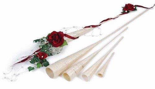 Freese Spitzvase aus Sisal, 40 cm, 3 Stck, Sisal-Vase spitz, Durchm. 3,5 cm, Hochzeitsdeko, Kirche, Blumen-Deko Hochzeit