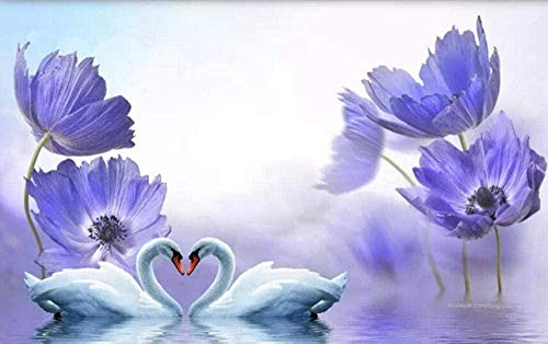 XHXI Papel pintado de flores de sueño de cisne azul Papel pintado no tejido 3D Murales modernos Decoración de pared papel Pintado de pared tapiz Decoración dormitorio Fotomural-350cm×256cm