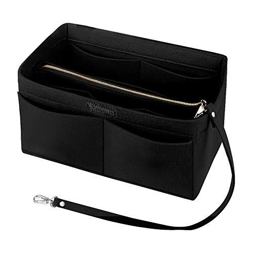 Ropch Handtaschen Organizer für Frauen, Filz Taschen Organisator Tote Organizer Handtaschenordner Bag in Bag Organizer mit Reißverschluss-Tasche, Schwarz - XL