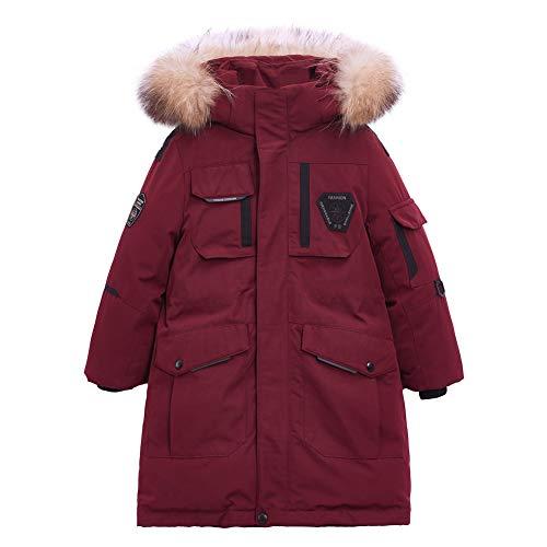 YFPICO Verdickte Daunenmante Buntem Helle Oberfläche Daunenjacke Mädchen Mantel Wintermantel Lang Parka Outwear, Rot, 152/158(Etikettengröße:160)