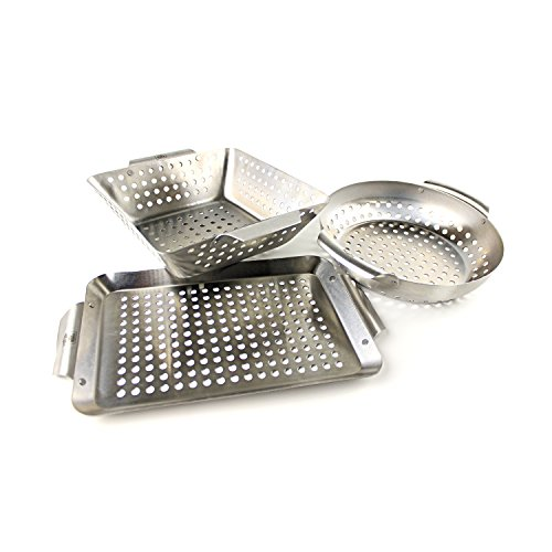 Yukon Glory Set of 3 Professional Barbecue Mini Grilling Basket Set, Heavy Duty Stainless Steel Perforated Grill Baskets for Grilling Veggies, Seafood, and More