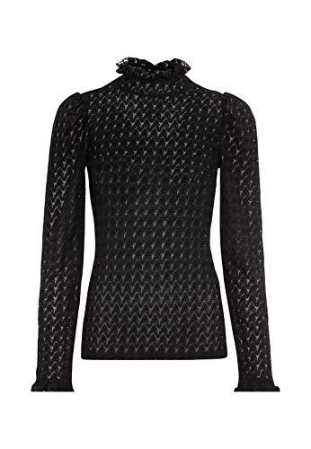 HALLHUBER Spitzenshirt mit Rüschen tailliert geschnitten schwarz, M