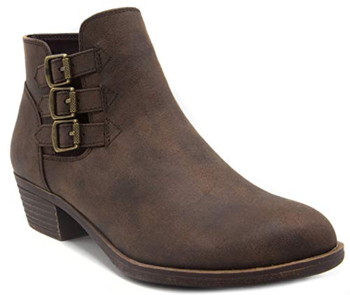 LONDON FOG Womens Tommy Ankle Boot Brown 9.5