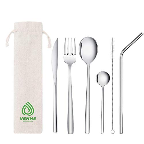 Stainless Steel 7pc Travel Utensil Set $4.40 (60% OFF Coupon)