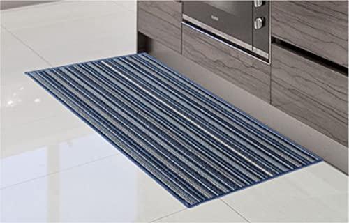 Alfombra de Cocina de Textil Resistente, Lavable   Base PVC Antideslizante y Aislante Diseño Clasico Color (Azul, 57_x_190_cm)