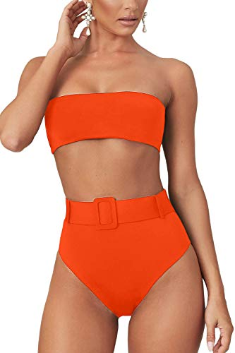 LEISUP Womens Strapless Tube Top Bikini High Waist Cheeky Thong Bandeau Swimsuit,Orange S